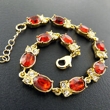 XXA572 GENUINE REAL 18K YELLOW G/F GOLD DIAMOND SIMULATED RUBY BRACELET BANGLE