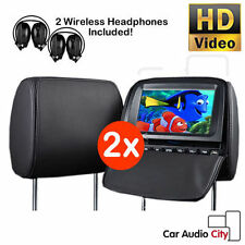 "XTRONS 9"" Car Twin Headrest Pillow DVD Player Games Dual Monitor + Headphones"