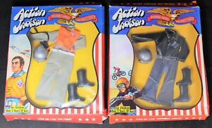 (2) Mego Action Jackson Outfit Lot - Scamble Cyclist & Air Force - MIB - Vintage