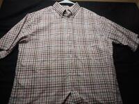 Turnbury Plaid White Green Red Cotton Medium Short Sleeve Men's Shirt