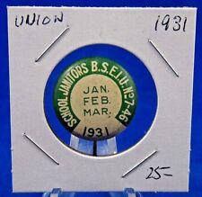 "1931 School Janitors B.S.E.I.U. 7-46 January-March Union Pin Pinback Button 7/8"""