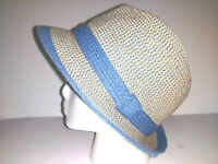 Hat D & Y Womens Mens Unisex Fedora Trilby One Size Blue Tan Packable