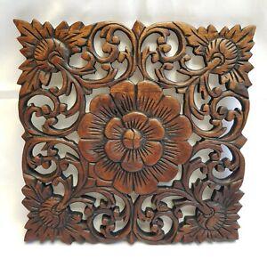 Wooden Flower Carving Sculpture Teak Wood Thai Square Wall Art Decor Hanging