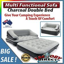 Multi Functional Sofa Inflatable Double Bed Charcoal Grey Couch Camping Outdoors