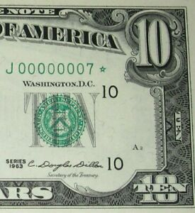 1963 $10 PMG-65, Fancy Serial Number, Star Note*