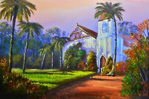 Original landscape acrylic painting St George Anglican Church Mt Wilson