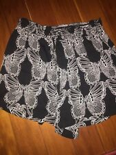 DR2 by Daniel Rainn Black and White Butterfly Casual Flowing Shorts Sz Small