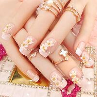 24Pcs Bride Wedding 3D False Artificial Fake Nails Tips French Cute Finger