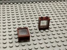 Lego windows 1x2 in brown With glass x2