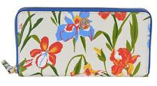 61221891979 NEW Tory Burch  248 Printed Iris Floral Leather Robinson Zip Around Wallet