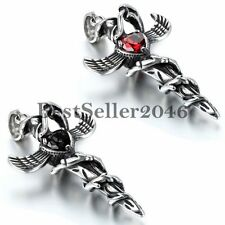 Zirkonia Edelstahl Halskette Gotik Schlangen Flügel Kreuz Dolch Schwert Anhänger