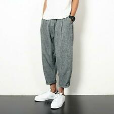Summer Mens Cotton Linen Harem Pants Casual Japanese Comfy Baggy Trousers New