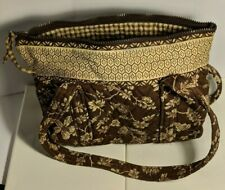 Quilted Keepers Brown Quilted Purse w/ drop Handles Zipper & Pockets