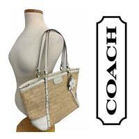Coach Alexandra Straw Handbag Purse Bag Natural Tote White B1320-F21959