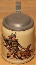 Young Hunter & Hunting Dogs Mettlach 1/2 L German beer stein antique #2 1526/566