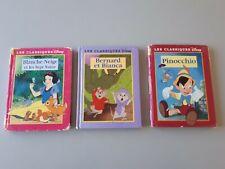 livres les classiques de DISNEY : Blanche Neige, Bernard et Bianca, Pinocchio