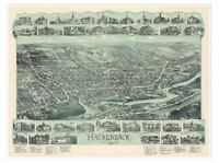 "Bird's Eye View Vintage MAP of Hackensack, New Jersey circa 1896 24"" x 32"""