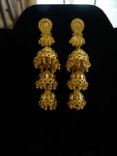 GOLD PLATED LONG DANGLING EARRINGS  WEDDING EXTRA LONG LIGHT INDIAN JHUMKIS
