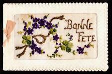 vintage silk embroidered bonne fete flowers greetings france folding postcard