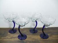 """Margarita elegant glasses (4) w/ cobalt blue stems 7"""" tall"""