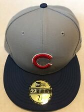 CHICAGO CUBS MLB BASEBALL (NEW ERA 59FIFTY) FITTED SZ 7 1/2  GRAY HAT