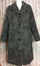 New $199 Jessica London size 16 Gray Leopard Print Wool Blend Lined Winter Coat