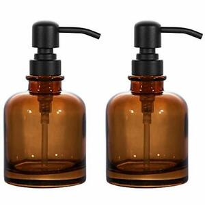 2 Pcs Thick Amber Glass Jar Soap Dispenser With Matte Black Stainless Steel P...