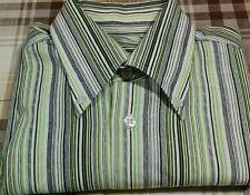 Camicia uomo mille righe verde nero grigio bianco taglia M cotone 100%