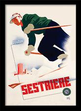 ITALIA SESTRIERE SCI-incorniciato 30 x 40 Stampa Ufficiale
