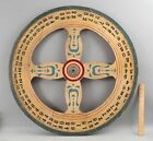 Antique Early 20thC Folk Art Painted Wood Carnival Game Wheel, NO RESERVE!
