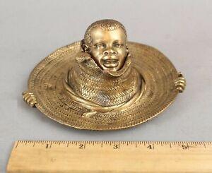 Antique circa-1900 Bronze, Figural Country Boy Straw Hat Desktop Inkwell Tray NR