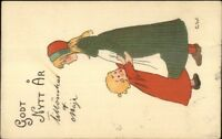 Swedish New Year - Sisters Little Girl G.W. c1910 Postcard