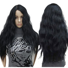 Fashion Black Womens Full Wig Natural Wavy Curly Hair Long Weave Wig Part Bangs