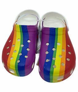 Crocs Rainbow Graphic Classic Clog Size Mens US 13-NEW WITH TAGS