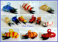 6 x COLOURFUL MURANO TYPE GLASS SHRIMP / PRAWN AQUARIUM ORNAMENT BUBBLE FLOATS!!
