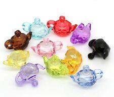5x Acryl Anhänger charm Perlen beads für Schmuck NEU Teekannen Mix 25x34mm DIY