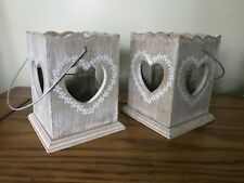 2 x Rustic Wooden Hanging Candle Tea Light Votive Holder Grey Heart Shabby Chic