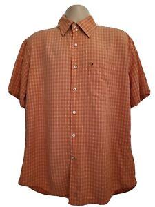 Tommy Hilfiger Mens Large Stunning Vintage Orange Rayon Polyester SS Shirt