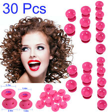 30pc Silicone Hair Curler Magic Hair Care Rollers No Heat Hair Styling Tool Pink