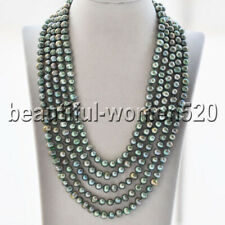 Z8862 Long 8mm Green Round Freshwater Pearl Necklace 100inch