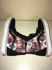 Mens Vans Canvas SK8 Hi Black White Red High Top Shoes Size 10 Skateboard GUC