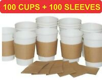 100x 7/8/12oz White Disposable Paper Cups +100 Kraft Sleeves FREE, From UK