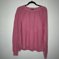 J Crew Women's Pointelle Cable Knit Sweater Pink Crew Neck Wool Cotton Size L
