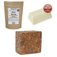 African Black Soap Raw Organic Face & Body Wash 1lb-Free Bonus 8 oz Shea Butter