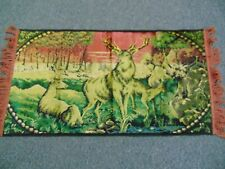 Vintage Tapestry- 22x40- Magnificent Stag,Doe,Fawn/Sunset Forest-VG-BEAUTIFUL