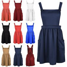 Womens Ladies Sleeveless Dungarees Cross Back Strappy Flared Skater Playsuit