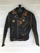 Vintage 80's Leather Motorcycle Jacket  HAND JEWELED Indian Head Size US 36/38