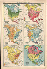 1936 MAP NORTH AMERICA JANUARY JULY TEMPERATURE RAINFALL POPULATION & POLITICAL
