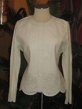 CAPRICE NWOT XL leather women's sweater eyelet winter white jacket