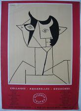 Plakat Picasso Collages Aquarelles Litho Paris Galerie Graven 1959 Mourlot